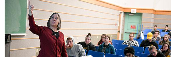 Clarkson Professor Andrea Ferro teaches a class of undergraduate students