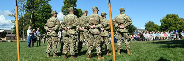 Clarkson undergraduate student members of ROTC gather for an outdoor event
