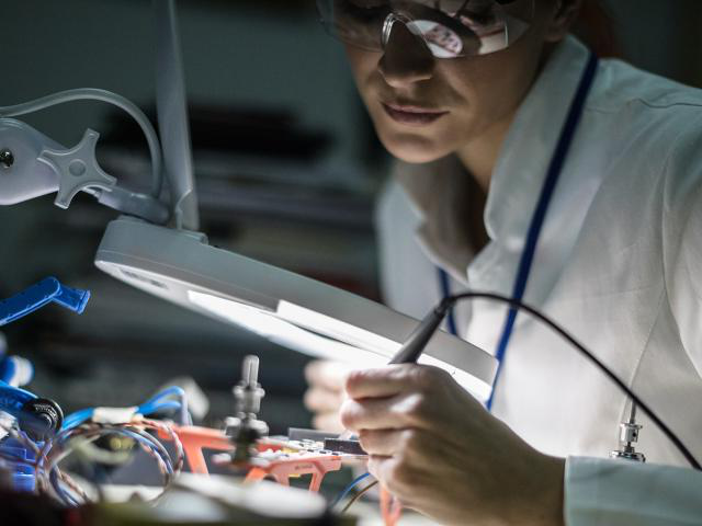 An electrical engineering student working on components. For work in this field, an undergraduate bachelor's degree program in electrical engineering is offered through the department of electrical and computer engineering. Students interested in the undergraduate electrical engineering major can learn more about electrical engineering careers, salaries and jobs, and the electrical engineering major curriculum.